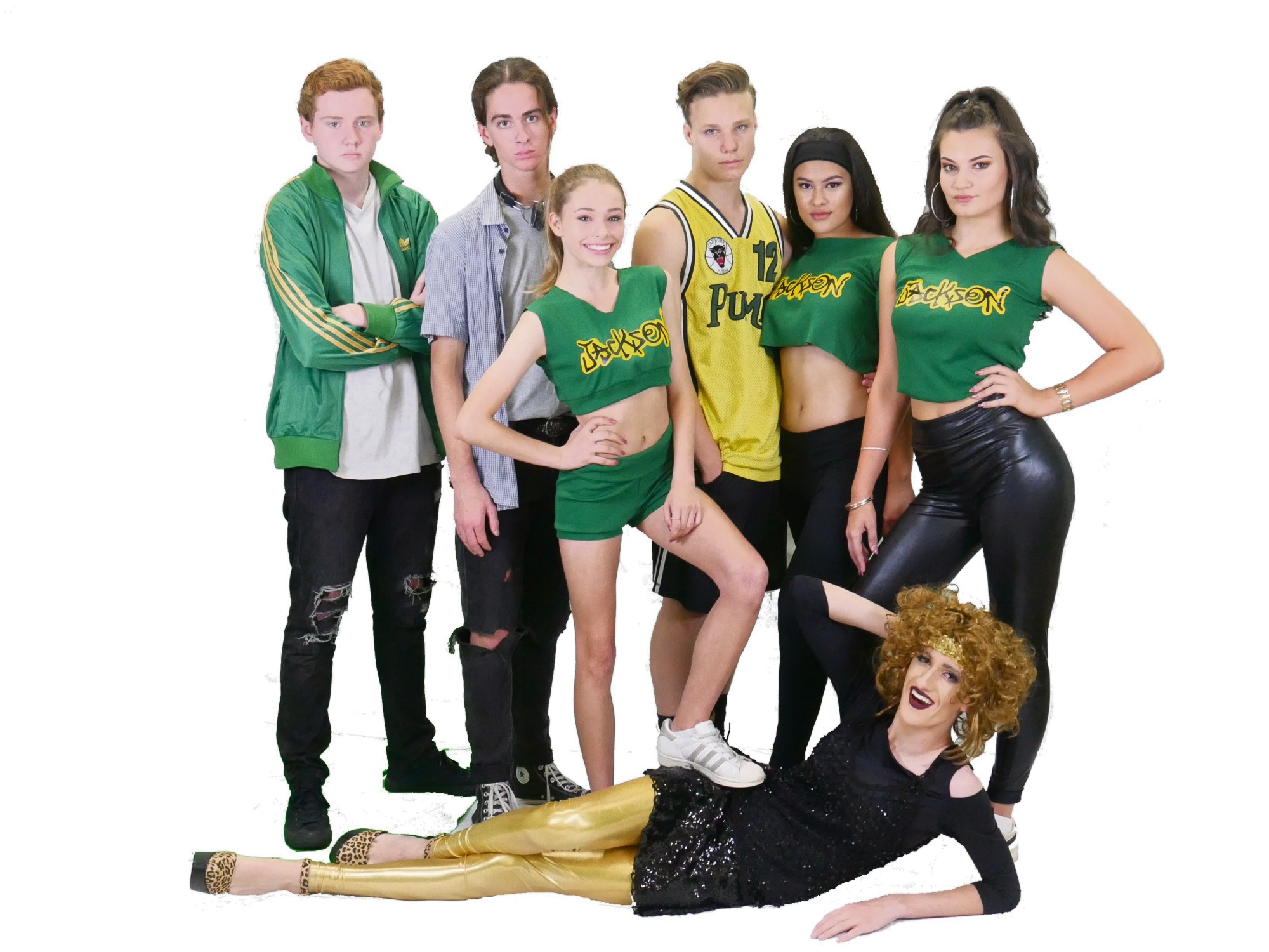 Bring It On: The Musical features Ashley Garner, left, Cooper Jenkins, Palmyra resident  Katie Price, Luis Barnes, Amy Cornel, Ariana Vallejo and Blake Jenkins (front).