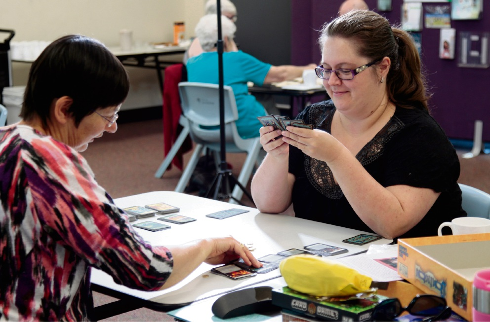 Enjoying a game of Dominion are Heather Morton and Kaylie Brooker. Picture: Marie Nirme
