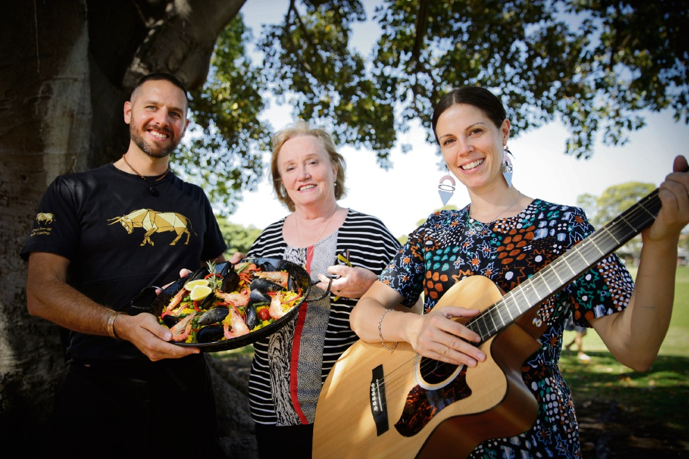 Kamal Alfaro (Kamal's Quarter Catering), Ida Smithwick (North Perth Local chairperson) and local muso Felicity Groom. Picture: Andrew Ritchie