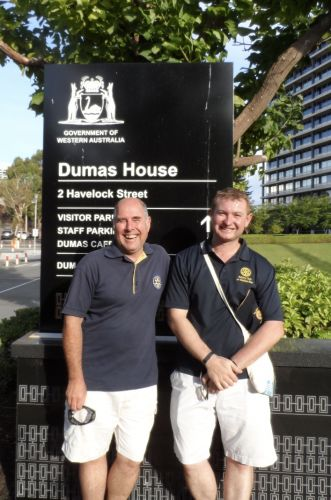 Rotary Club of Matilda Bay parking attendants (l-r) Paul Rumble and Luca Farrell are ready for parking at Kings Park on Australia Day.