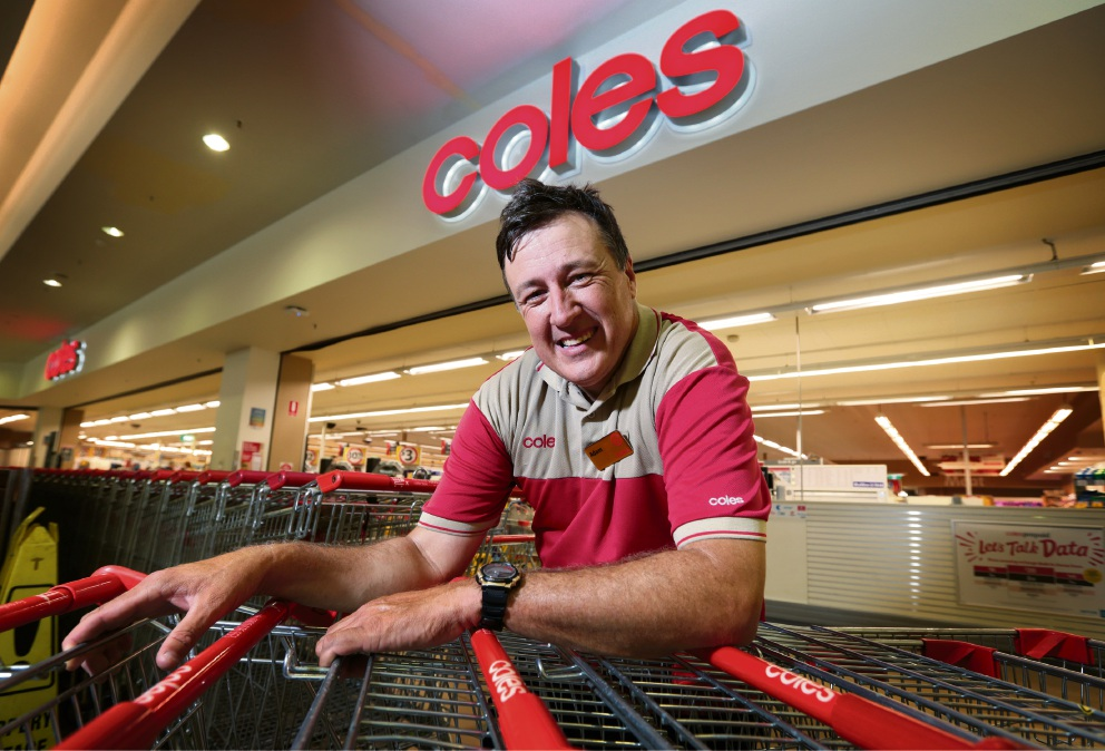 Adam Barnett of Hazelmere, who works in Customer Service at Coles Kalamunda. Adam has worked for Coles for 30 years. Photo: David Baylis