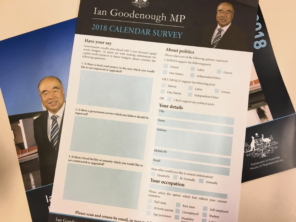 Ian Goodenough's annual community survey.