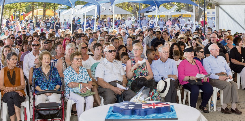 A big crowd gathered for last year's Australia Day ceremony in Mandurah.