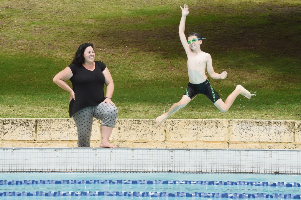 Lathlain mother and son swimming duo Tamara and Bay Bruce.