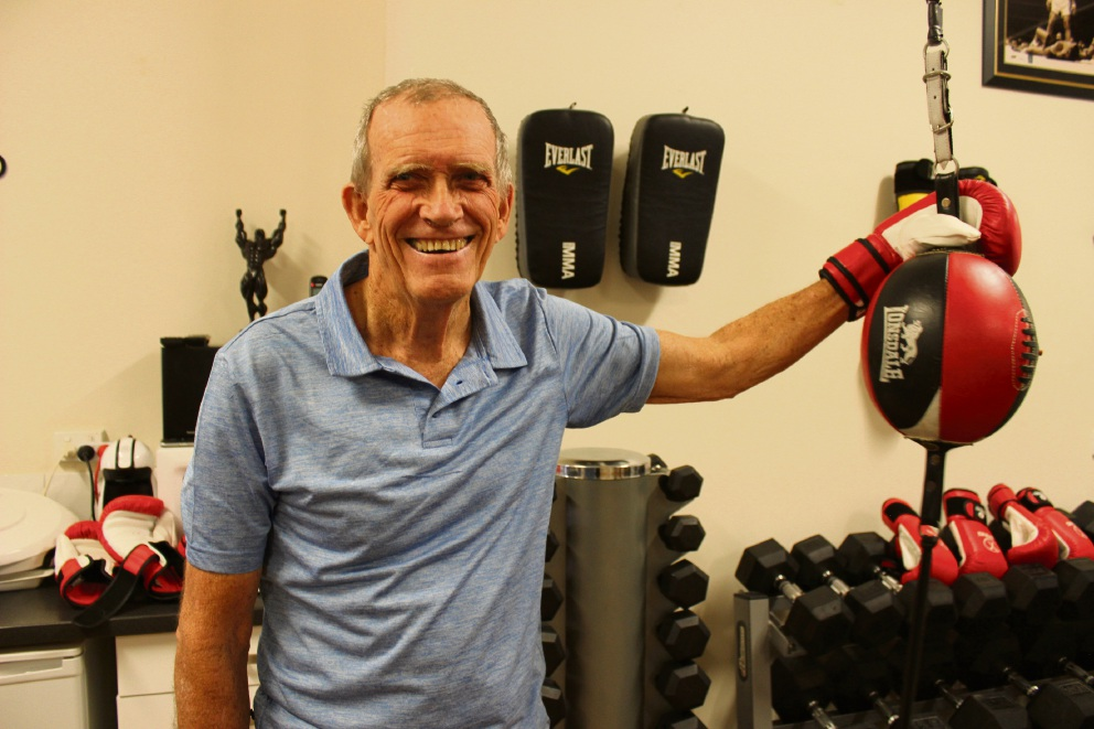Parkinson's sufferer Walter Bennett (74) beaming after finishing his weekly boxing training.