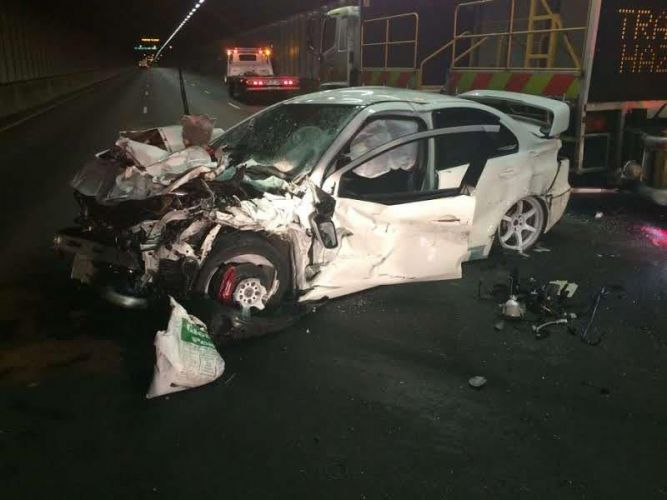The Mitsubishi Lancer after the crash. Picture: WA Police.