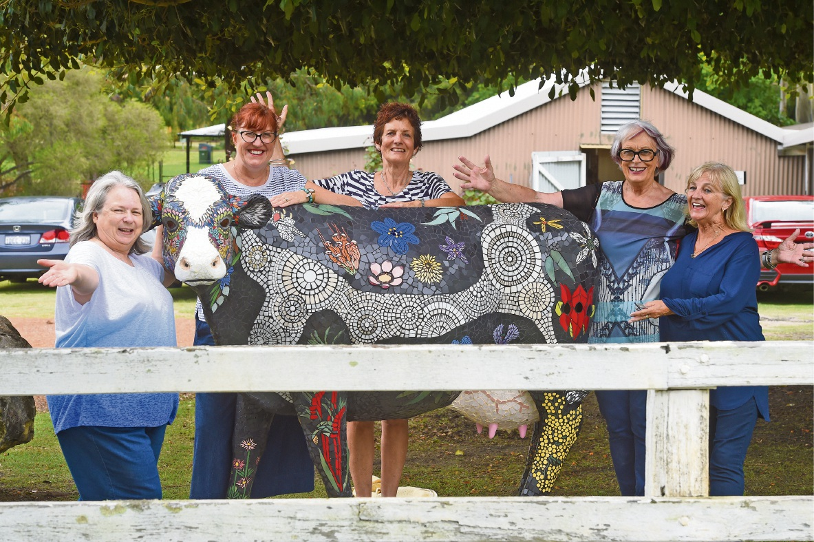 Mosaic at the Cow Shed members Kate Wood (left), Felicity Chivers, Caryl Pass, Merrilyn Langford and Anita Newman. Picture: Jon Hewson.