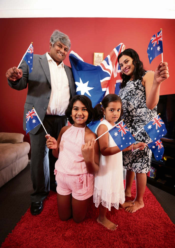 BACK: Nishi Kozhikkalathil and Veena Padmanabhan.  FRONT: Nayo Nishi (10) and Nikki Nishi (5) of Bedford.  All will become Australian citizens on Australia Day at the City of Bayswater''s citizenship ceremony. Picture: David Baylis www.communitypix.com.au   d478329