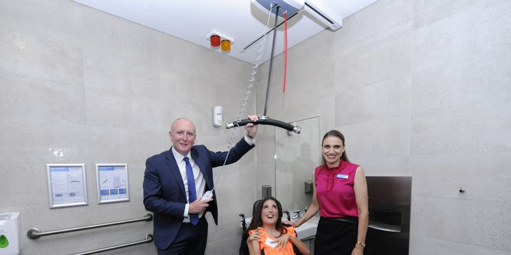 Disability Services Minister Stephen Dawson, Marissa Florias and Lakeside Joondalup Shopping City centre manager Gemma Hannigan. Picture: Chris Kershaw