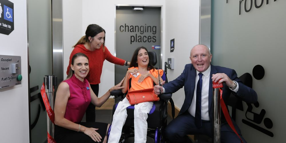 Lakeside Joondalup Shopping City centre manager Gemma Hannigan, Marissa Florias and her carer Sarah Murphy and Disability Services Minister Stephen Dawson. Picture: Chris Kershaw