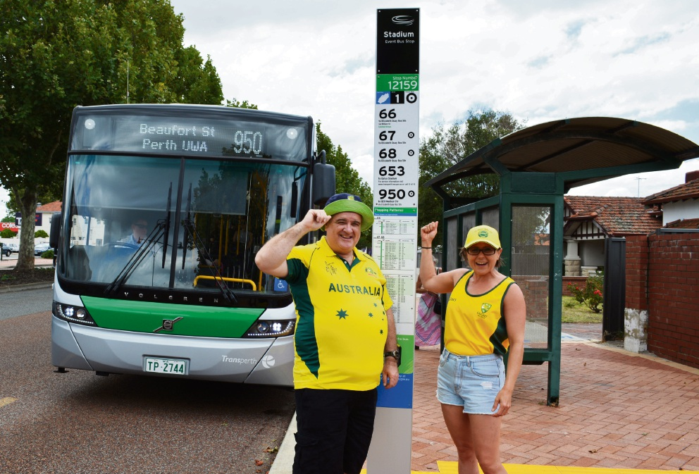 Cricket fans Sally Edwards from Thornlie and Alan Rogers from Canning Vale are looking forward to using public transport to get to Optus Stadium.