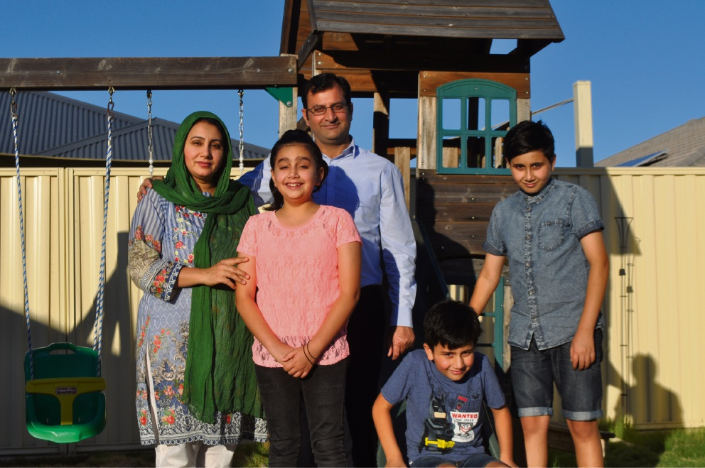 The Hussain family: (l-r) Salma, Maryam (10), Imran, Soban (7) and Burhan (12).