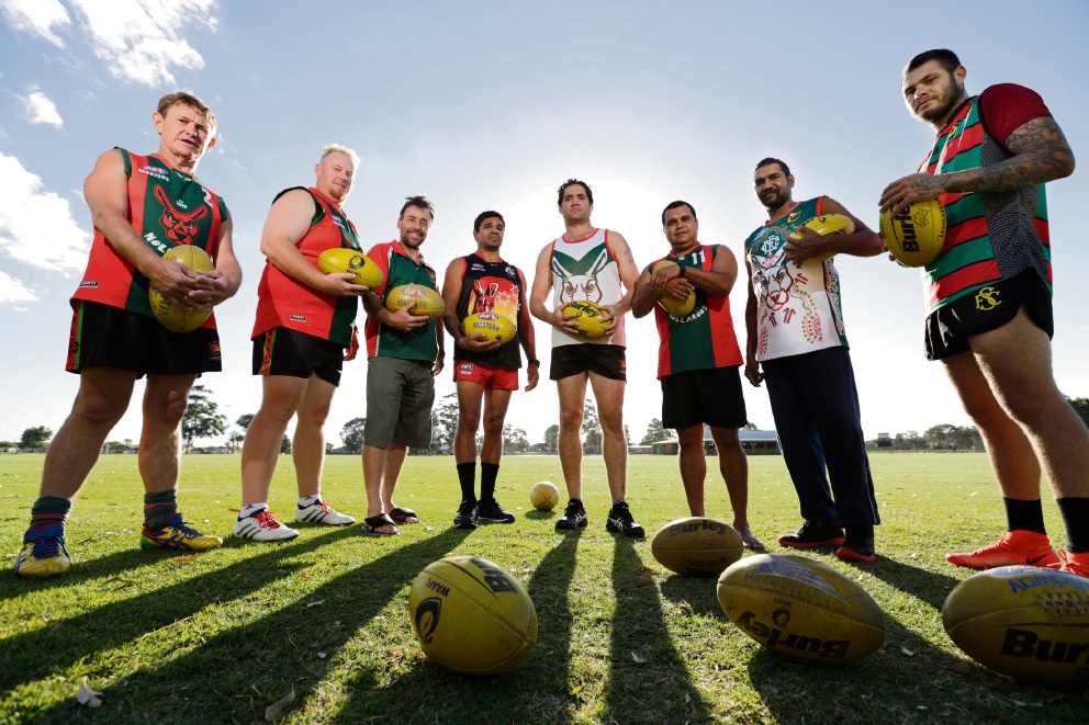 Peter Hinson, David Farrell, Brad Flindell, Dale Kickett, Des Headland, Garth Taylor,  Kelvin Simpson (Asst Coach) and Dylan Nelson. Former AFL Football Players playing in the Amateur League Picture: Andrew Ritchie www.communitypix.com.au   d478492
