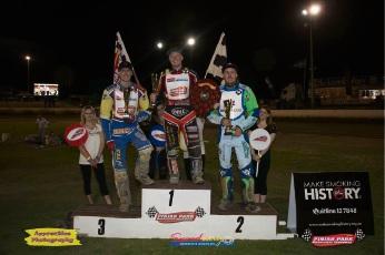Rob Woffinden Classic podium – #1 Cam Heeps, #2 Daniel Winchester, #3 Kenny Wennerstam. Picture: Facebook