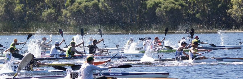 Competitors fought strong winds in the state canoe championships on Sunday. Pictures: Bronwyn Martin