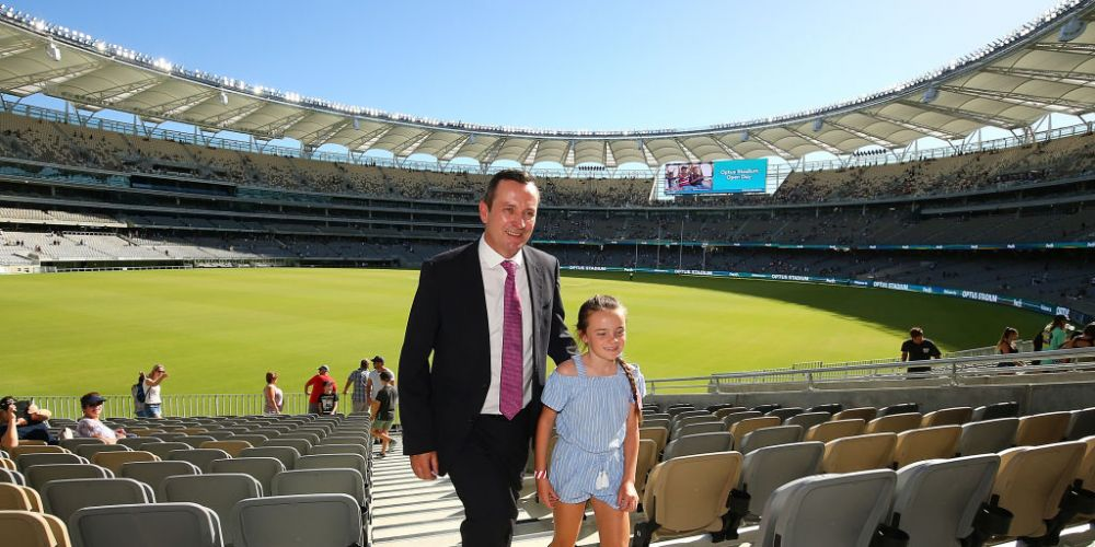 Premier Mark McGowan and his daughter soak up the opening of the new Optus Stadium. Photo: Getty