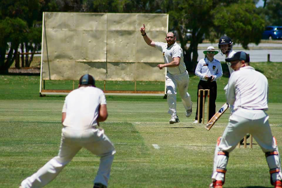 Melville quick Ryan Duffield celebrates one of his three wickets against Gosnells on Saturday. Picture: Melville Cricket Club.