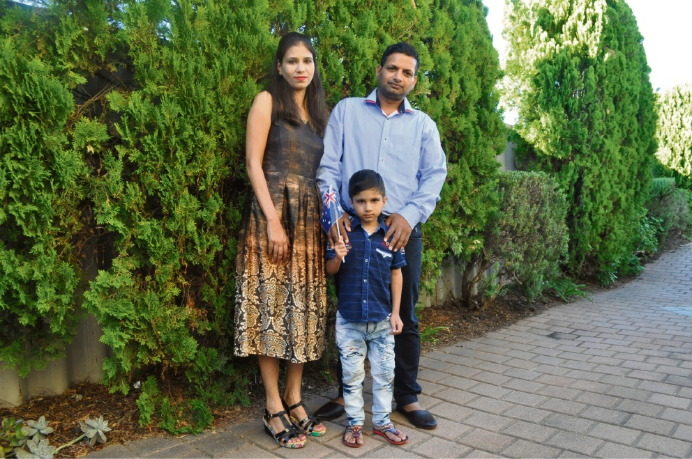 Victoria Park residents Mini, Arjun, 5, and Sanjeev Bedi are pleased to become Australian residents.