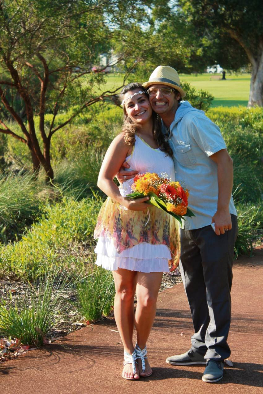 Language of love: Taluana and Bruno Barreto came to Australia to learn English and fell in love with the country.