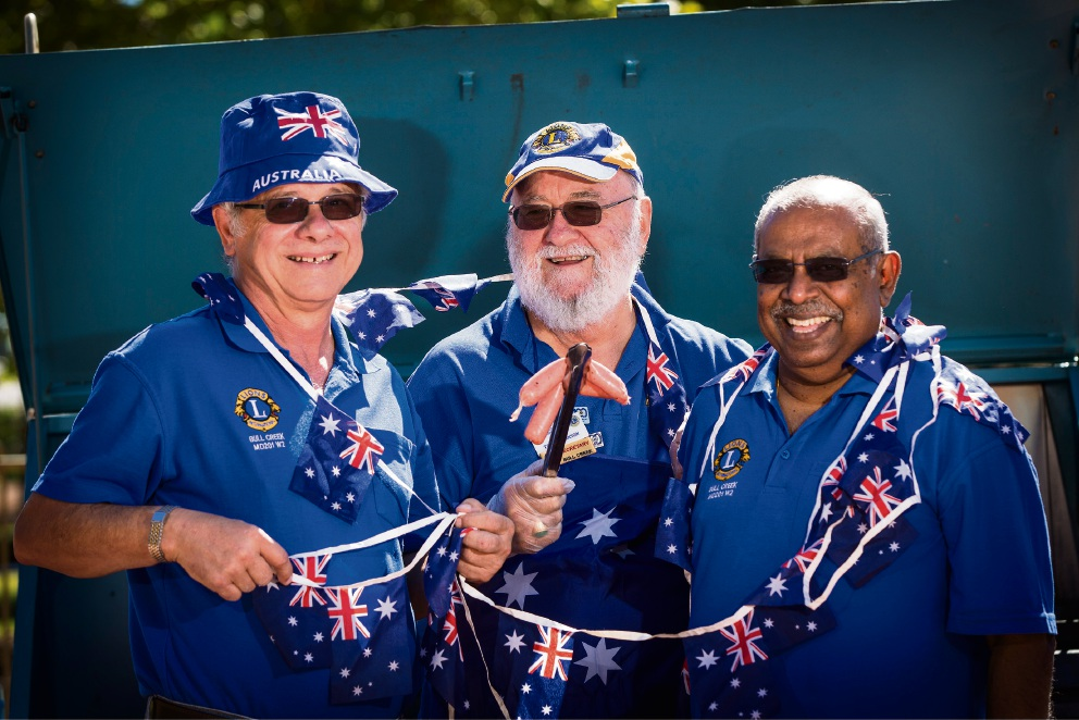 Pictured (L-R) Peter Melfi, Terry Johnson and Rasa Subramaniam are all set for another Australia Day bash. Picture: Will Russell www.communitypix.com.au   d478508
