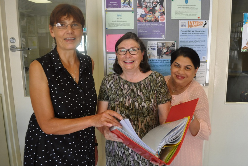 Victoria Park Community Centre manager Nicky Macdougall, English as a Second Language teacher Jane Scott and board member Pri Adilbert are running the course.