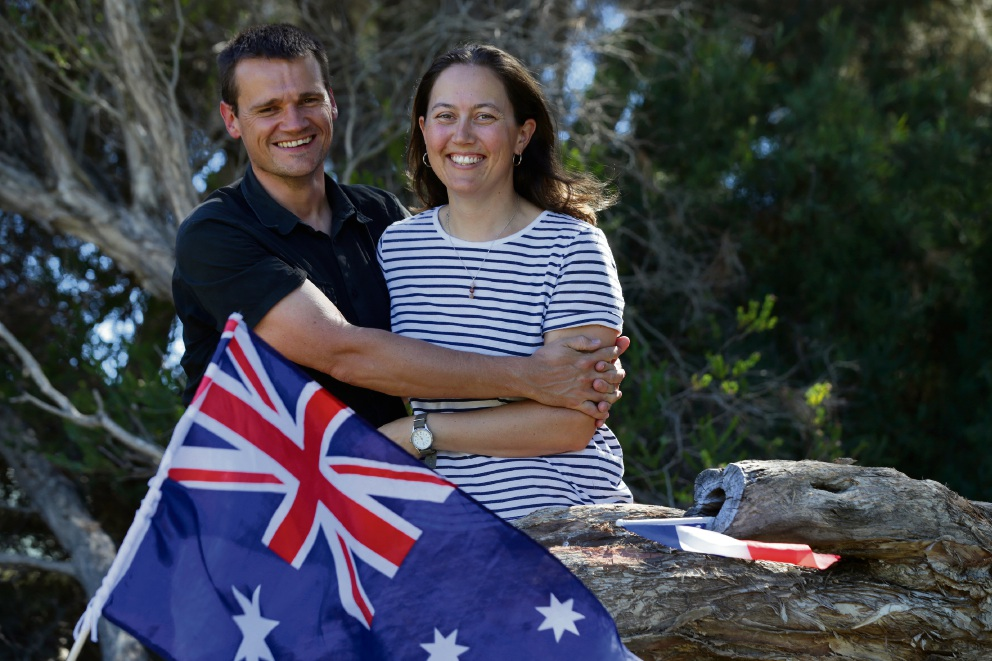 Alan D'hulst and Alexia Caraes, who will become Australian citizens this year, say they feel more at home in Perth than they do in France. Picture: Martin Kennealey d478483