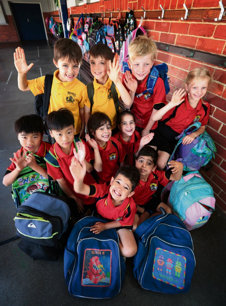 BACK ROW L-R: Riley and Lucas Hall, Sem and Hanna (SEATED) Burgmans.  MIDDLE ROW L-R: Jeremy and Jayden Yau, Tomei and Mika Moriah Alfasi.  FRONT ROW L-R: Oliver and Grayson Holland.  All students are 7 years old and from year 1 and 2.  Five sets of twins at Hillcrest Primary School in Bayswater. Picture: David Baylis www.communitypix.com.au   d477525