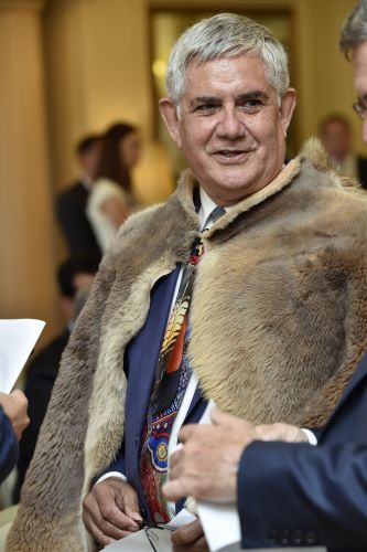 Ken Wyatt wore a traditional cloak when he was sworn in as Minister for Aged Care and Indigenous Health on January 24 2017.