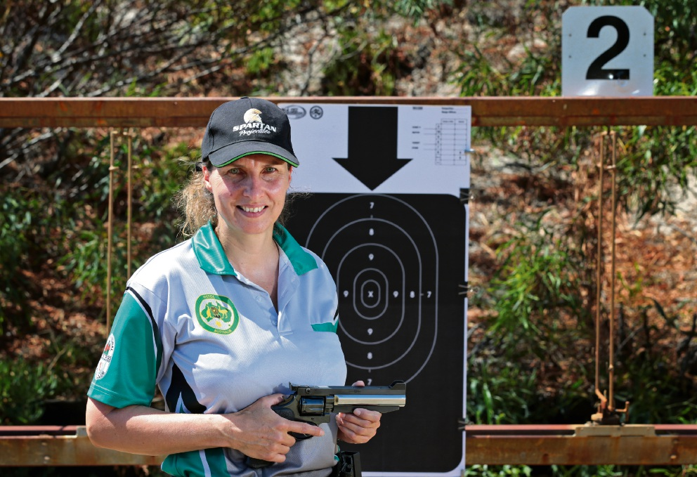 Linda Jekel of Morley, in training for the Pistol Australia Nationals held at Whiteman Park International Pistol Club from March 1 to 4.  Linda is also nominated for the RAC Sportstar of the Year Award. Picture: David Baylis www.communitypix.com.au   d47832