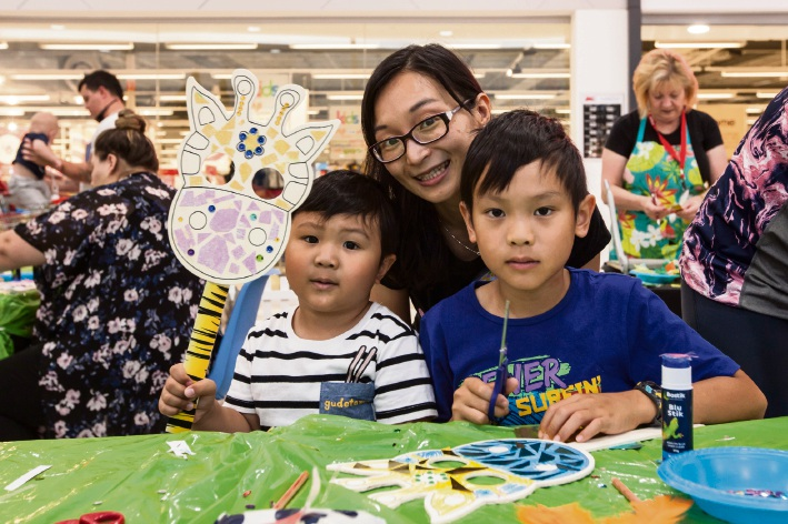 Brendyn (4) and Nicolas Wong (9) with Venus Chui, of Butler.