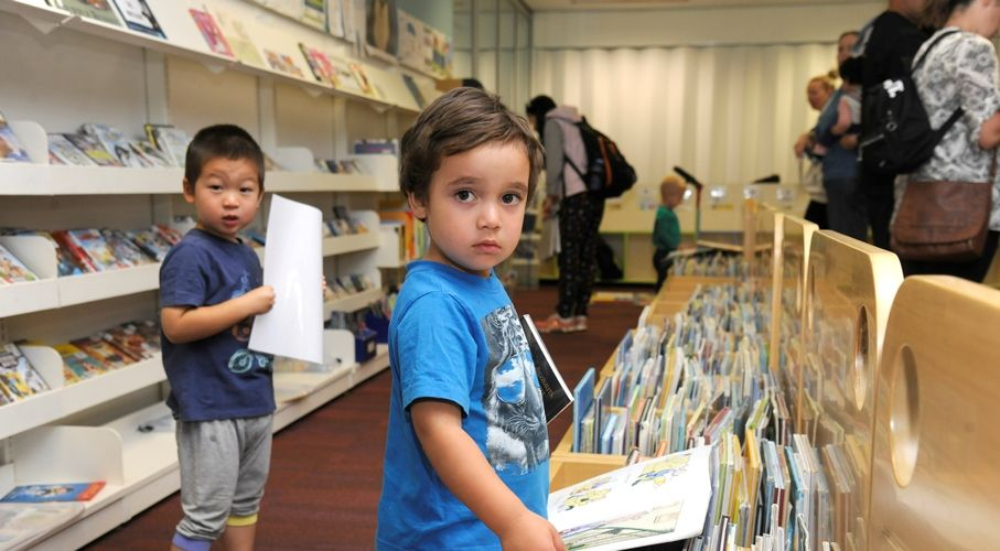 Jason Guan and Anthony Ethan enjoying the Library's free weekly Toddlertime session.