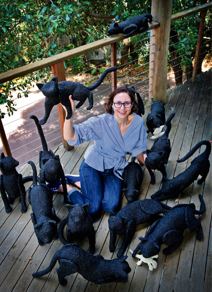 Mikaela Castledine of Kalamunda, who will be exhibiting in Sculpture by the Sea with her art piece called Feral, featuring 15 crochet sculptured cats. Photo: David Baylis