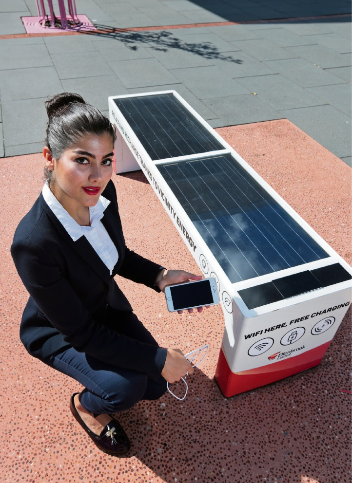 Ellenbrook Central offers solar-powered mobile device charging station