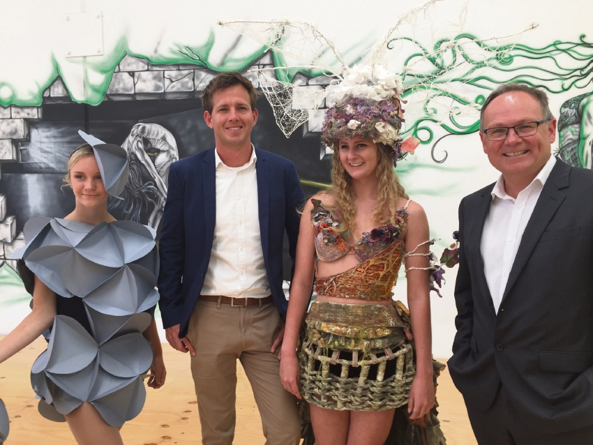 DTX Dance Studio dancers Libby Anning and Emily Maher in costumes from previous Wearable Art Mandurah events with Mandurah Mayor Rhys Williams and Mandurah MLA David Templeman.