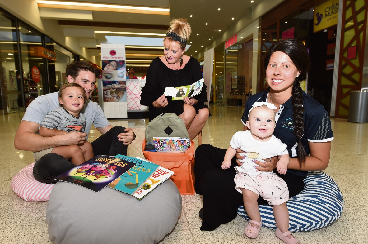 Nate Draper with Leo Anestoudis (2), centre manager Vivienne Steur and Gowrie Early Learning Centre's Aimee Thomas with Aurora Anestoudis (6mths). Picture: Jon Hewson.