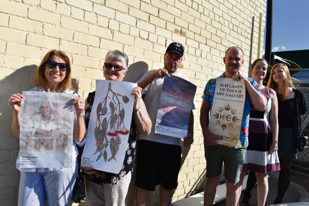 Maylands artists Carol Emmerson, Lois Moir and Slade Jones with Henry on Eighth owner Steve Lavell, Creative Maylands chair Kate Thomson and City of Bayswater place manager Emma Snow.