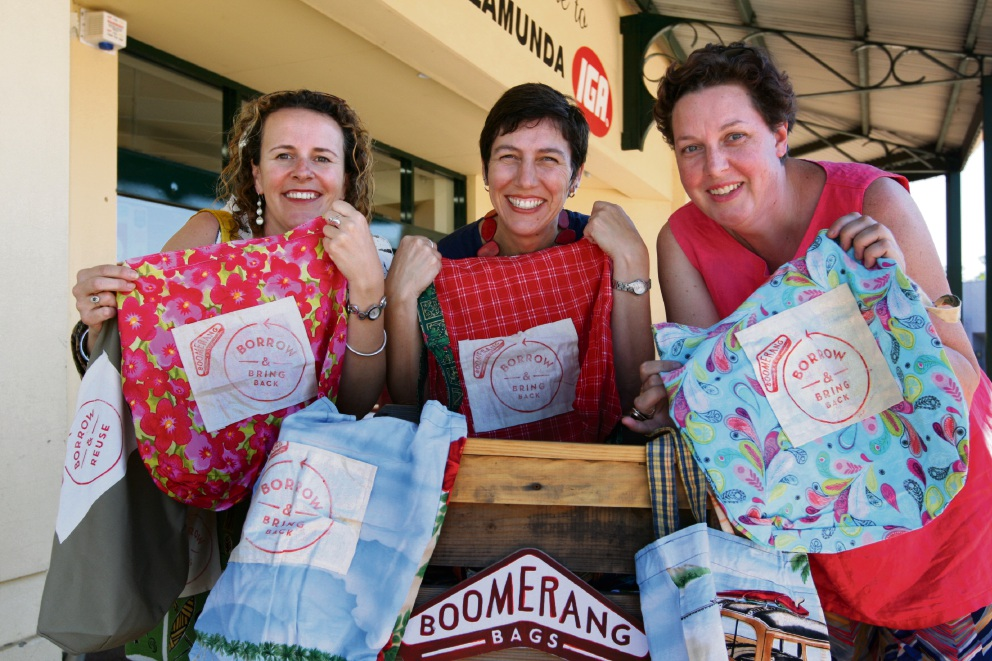 Ladies with the returnable shopping bags they have made to replace plastic bags. Photographer: Bruce Hunt