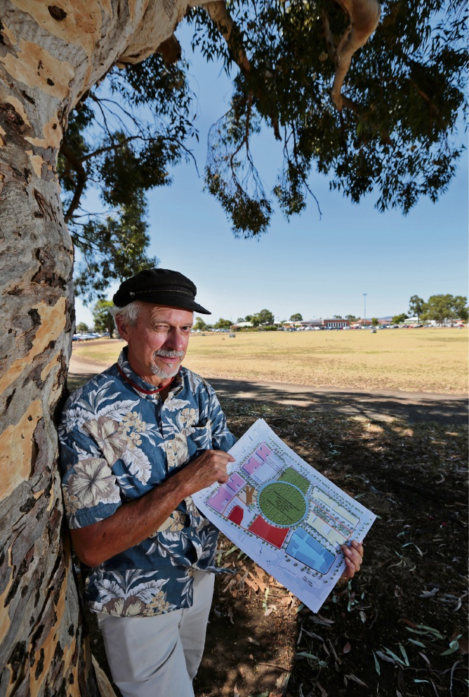 MDCG spokesperson and heritage architect Patrick Irwin at Midland Oval with his design plan. Photo: David Baylis