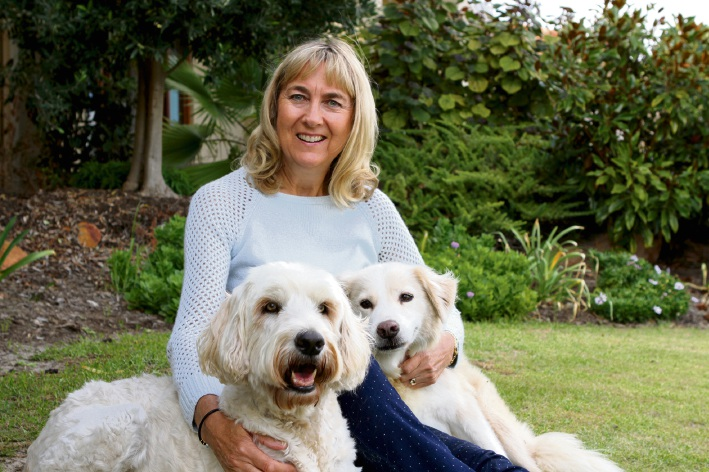 Lynne Bradshaw with dogs Billie and Dennis.