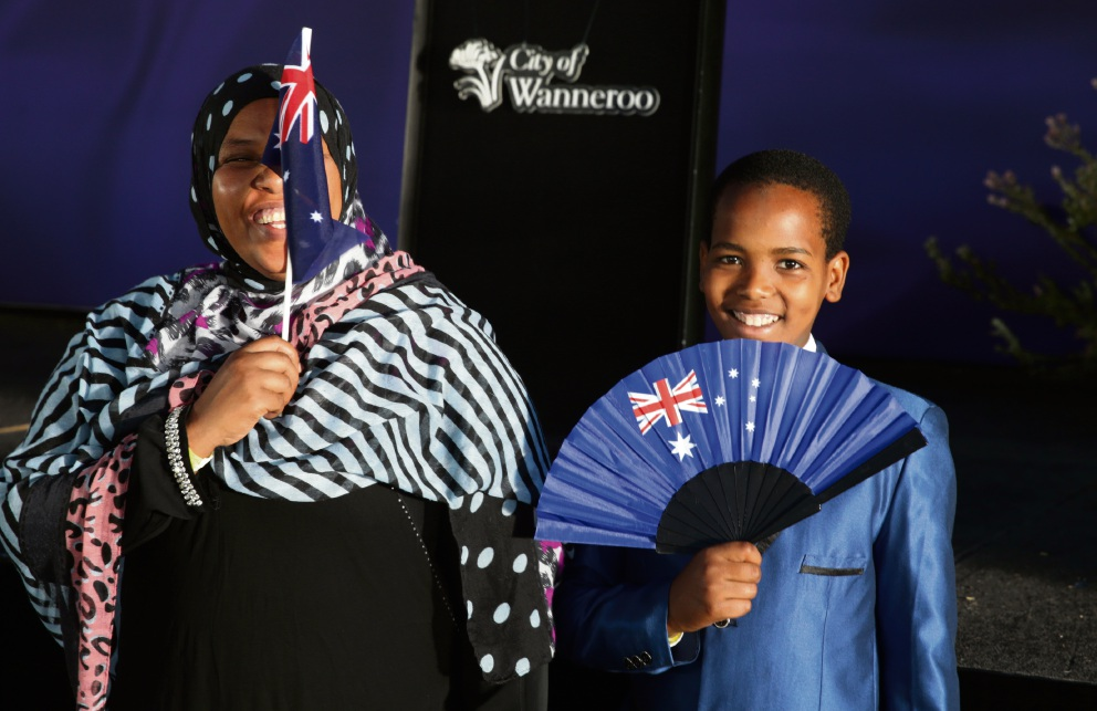 Tegaya Beyene-Shanko and Abdul Wahid Chulu (12), of Alexander Heights. Pictures: Martin Kennealey www.communitypix.com.au d478670
