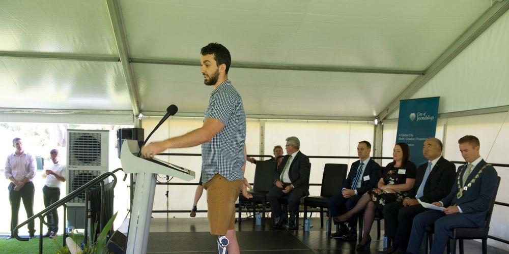 Australia day ambassador Adam Deans speech. Pictures: Stewart Allen