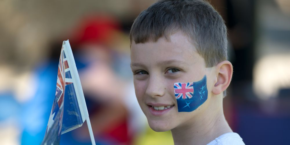 Louis Foxwell (10) shows his true colours at the City of Joondalup Australia Day citizenship ceremony. Pictures: Stewart Allen