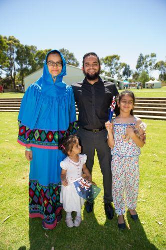 Tasneem and Mustafa Motiwala with children Sakinah(3) and Sarrah (8) from Pakistan. Pictures: Stewart Allen