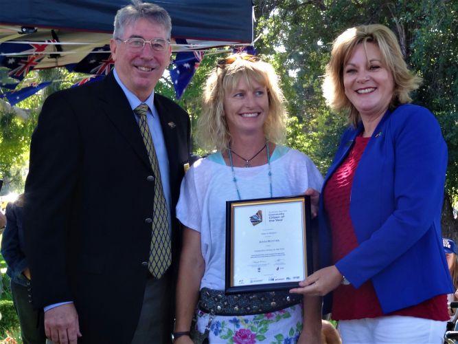 Shire president David Bolt, Australia Day WA Citizen Award winner Jenny Ruyter and Murray MLA Robyn Clarke.