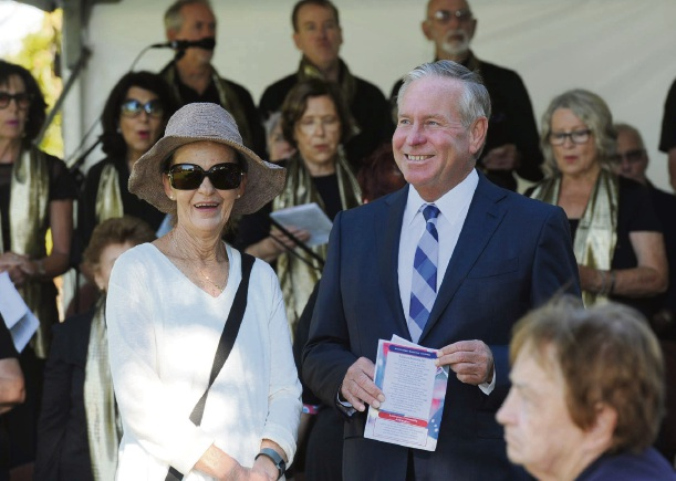 Retiring Cottesloe MLA Colin Barnett and his wife Lyn started the national day at celebration at Mosman Park Council. Photo: Jon Bassett