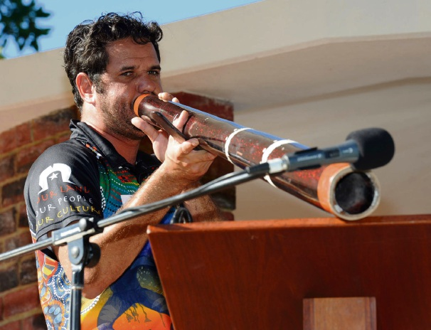 Nyoongar Olman Walley performed the Welcome to Country. Photo: Jon Bassett