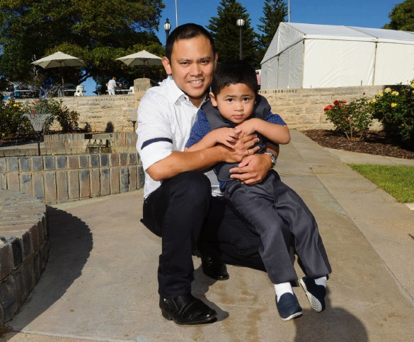 Mosman Park resident Jaymon Torrino and son Jayden (4) were among those who obtained citizenships. Photo: Jon Bassett