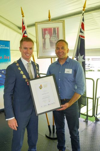 Joondalup Mayor Albert Jacob with Community Citizen of the Year award winner Andrew Blackwell. Pictures: Stewart Allen