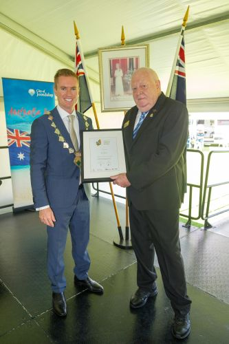 Joondalup Mayor Albert Jacob with Senior Community Citizen of the Year Ken Beven. Pictures: Stewart Allen