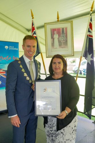 Joondalup Mayor Albert Jacob with Poynter Primary School principal Keyla Jeffers. Pictures: Stewart Allen